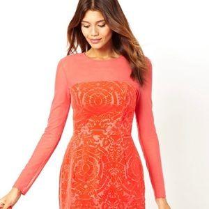 ASOS Red Velvet Baroque Dress